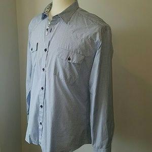 Café Bleu Long Sleeve Button Down Blue Shirt